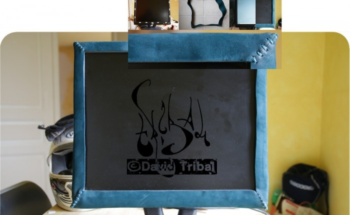 Cadre d'écran d'ordinateur en cuir