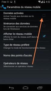 Décocher la case pour désactiver le transfert des données par le réseau mobile