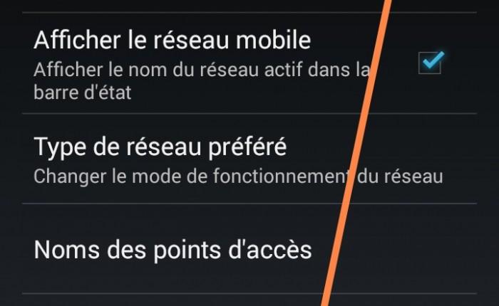 Couper la 3G/4G – Raccourcis vers 'réseaux mobiles' – sur Android