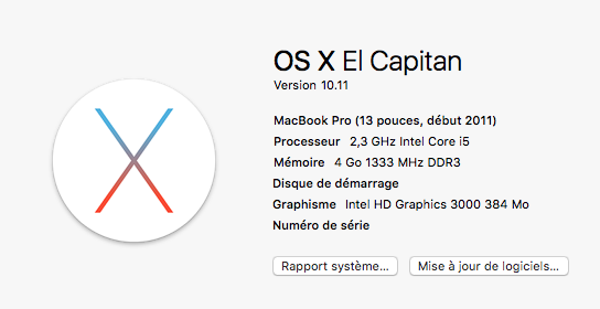 Passer de Mac OS X Mavericks 10.9.4 à El Capitan sur un Mac Book Pro de 2011 avec 4Go de Ram … c'est possible !