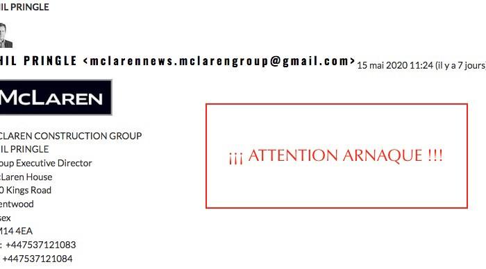 Arnaque – Fausse demande de devis – PHIL PRINGLE – mclarennews.mclarengroup@gmail.com